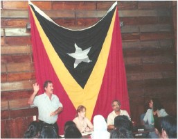 press conference of timor leste flag